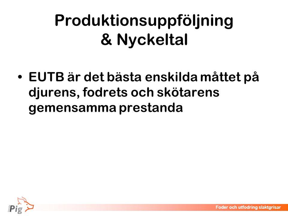 Föreläsningsrubrik / temaFoder och utfodring slaktgrisar Produktionsuppföljning & Nyckeltal EUTB är det bästa enskilda måttet på djurens, fodrets och