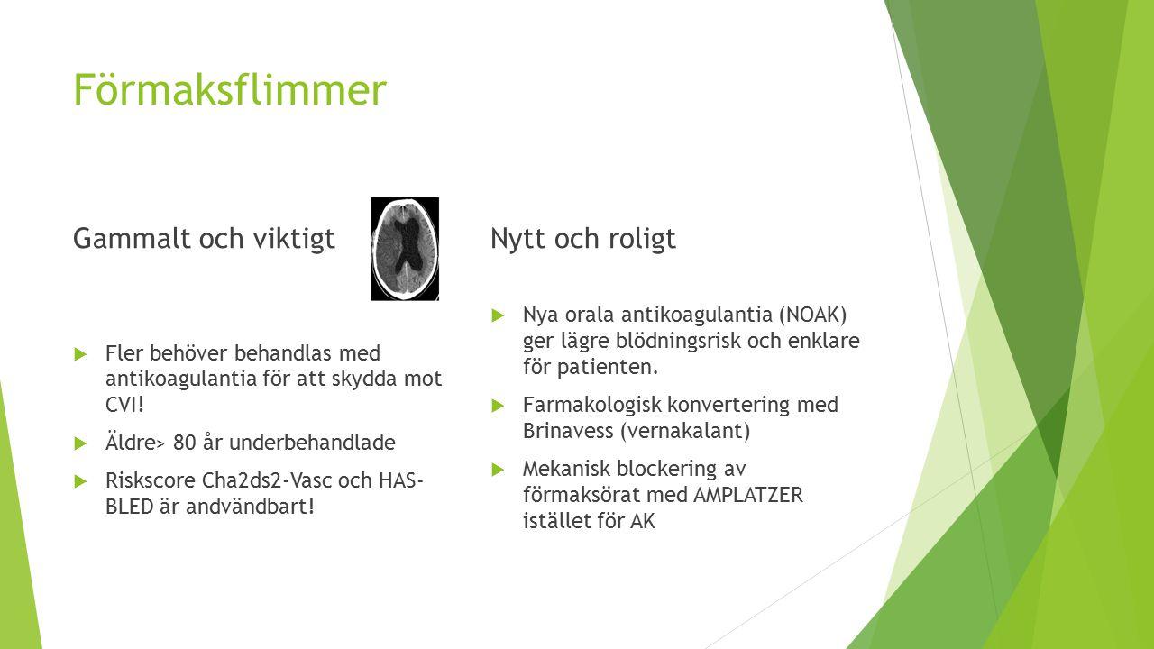Förmaksflimmer Gammalt och viktigt  Fler behöver behandlas med antikoagulantia för att skydda mot CVI.