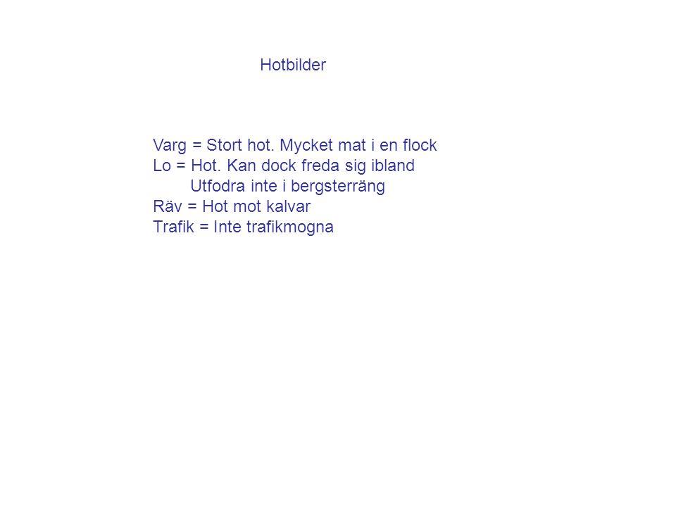 Hotbilder Varg = Stort hot.Mycket mat i en flock Lo = Hot.