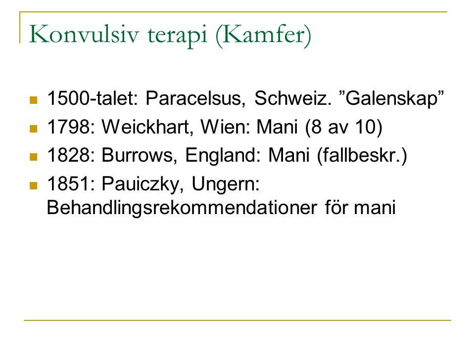 "Konvulsiv terapi (Kamfer) 1500-talet: Paracelsus, Schweiz. ""Galenskap"" 1798: Weickhart, Wien: Mani (8 av 10) 1828: Burrows, England: Mani (fallbeskr.)"