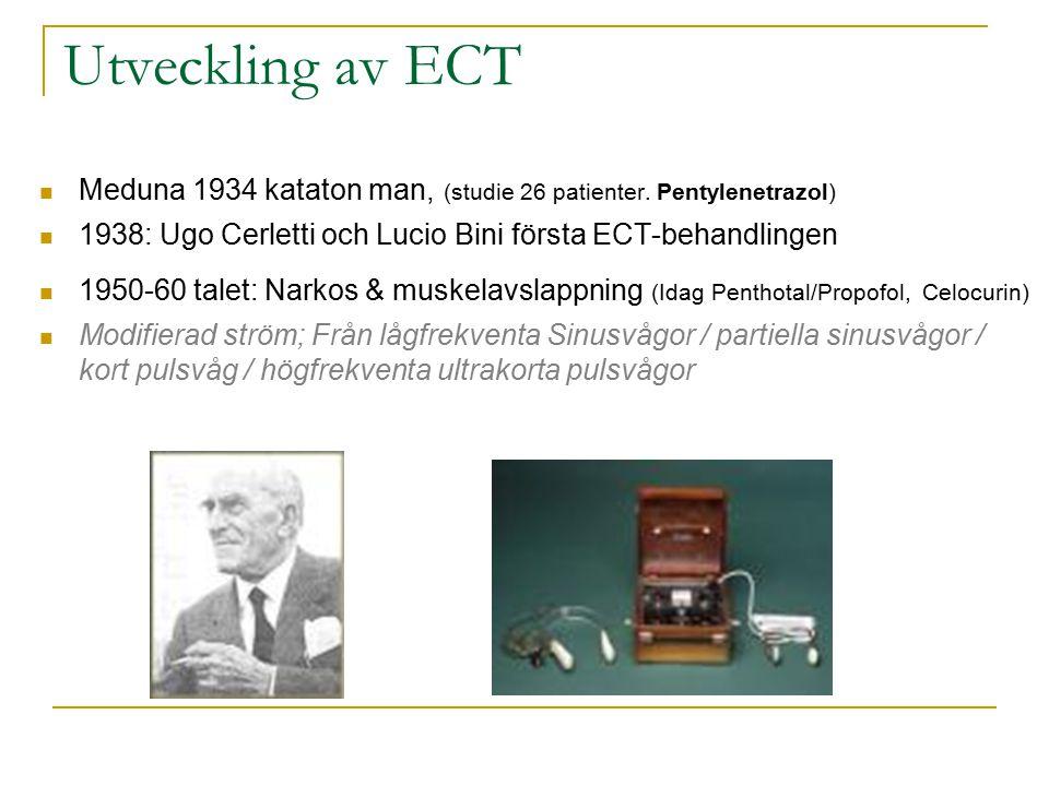 Utveckling av ECT Meduna 1934 kataton man, (studie 26 patienter. Pentylenetrazol) 1938: Ugo Cerletti och Lucio Bini första ECT-behandlingen 1950-60 ta