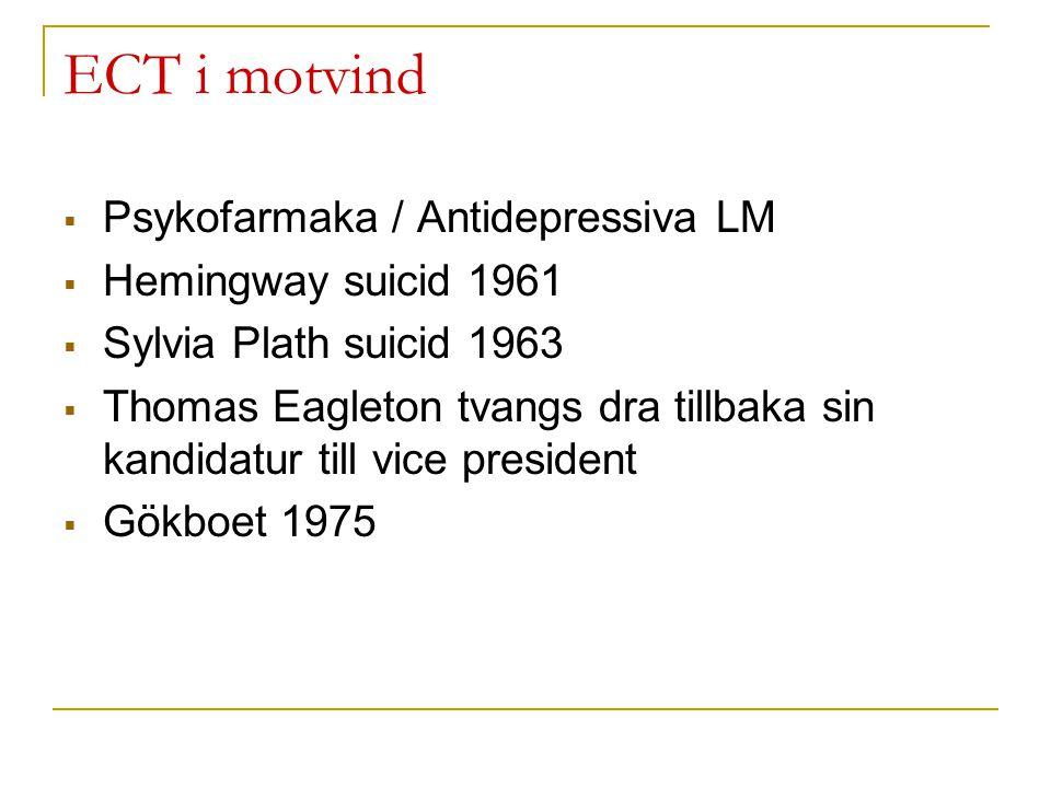 ECT i motvind  Psykofarmaka / Antidepressiva LM  Hemingway suicid 1961  Sylvia Plath suicid 1963  Thomas Eagleton tvangs dra tillbaka sin kandidat