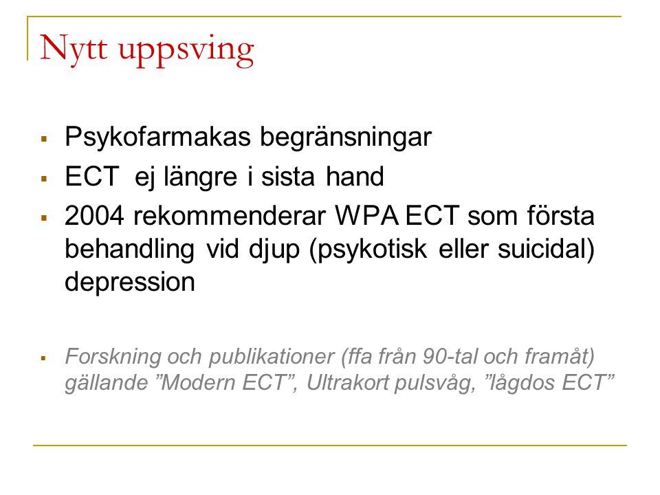 Nytt uppsving PPsykofarmakas begränsningar EECT ej längre i sista hand 22004 rekommenderar WPA ECT som första behandling vid djup (psykotisk ell