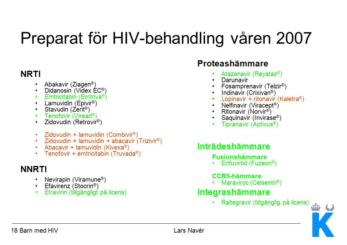 19 Barn med HIV Lars Navér Faktorer av betydelse inför uppstart av antiretroviral behandling hos barn Sjukdomssvårighet och risk för progression CD4 procent HIV RNA Symtom Viremins och de immunologiska markörernas naturalförlopp Finns lämpliga pediatriska läkemedelsberedningar.