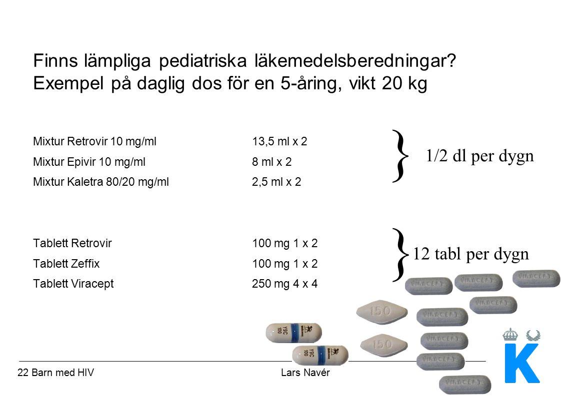 23 Barn med HIV Lars Navér Finns lämpliga läkemedelsberedningar.