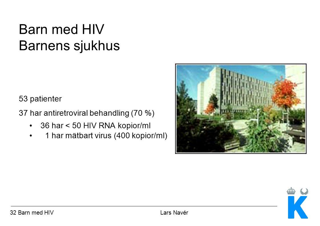 33 Barn med HIV Lars Navér Prognos och framtidsperspektiv Prognos Inget barn med HIV har avlidit i Sverige sedan 1996 Barn som tidigare hade AIDS har nu omätbart virus och bra immunstatus Flera äldre barn som haft AIDS och behandlats med ett flertal läkemedel under lång tid har biverkningar av lipodystrofityp Flera barn har blodlipidavvikelser Risk för framtida hjärt-kärlsjukdom okänd Framtidsperspektiv Fler läkemedelsklasser ger fler behandlingskombinationer Enklare dosering Bättre biverkningsprofil