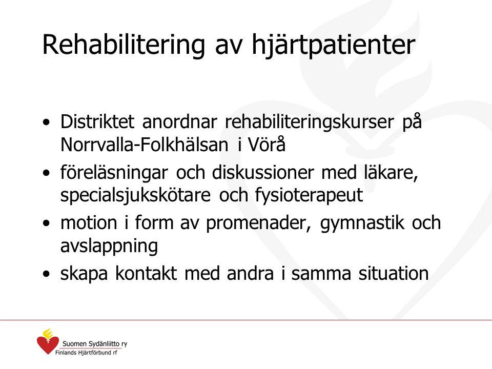 Rehabilitering av hjärtpatienter Distriktet anordnar rehabiliteringskurser på Norrvalla-Folkhälsan i Vörå föreläsningar och diskussioner med läkare, s