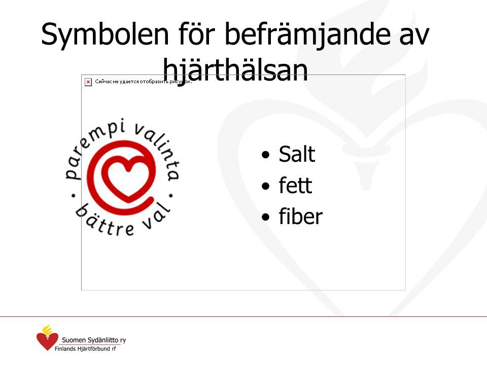 Symbolen för befrämjande av hjärthälsan Salt fett fiber