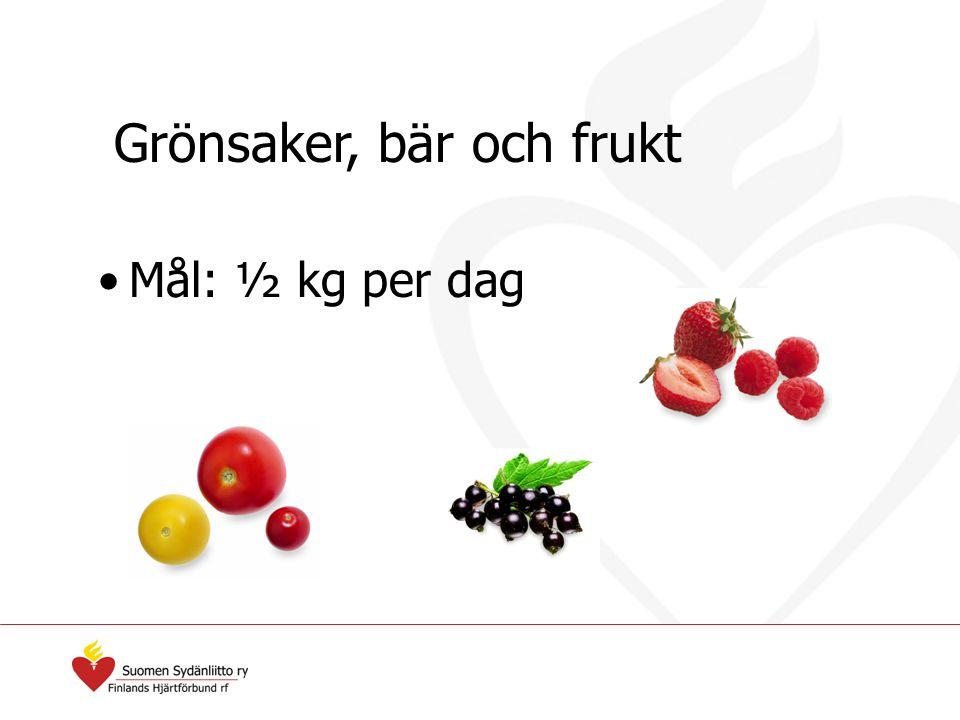 Grönsaker, bär och frukt Mål: ½ kg per dag