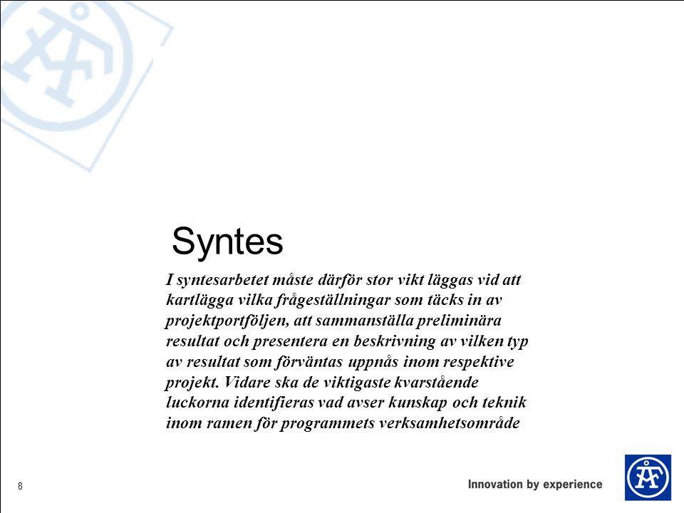 9 Syntes Programmets tyngdpunkt