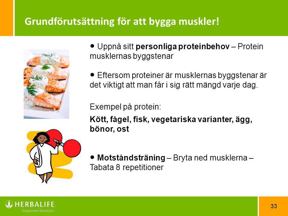 33 Uppnå sitt personliga proteinbehov – Protein musklernas byggstenar Eftersom proteiner är musklernas byggstenar är det viktigt att man får i sig rät