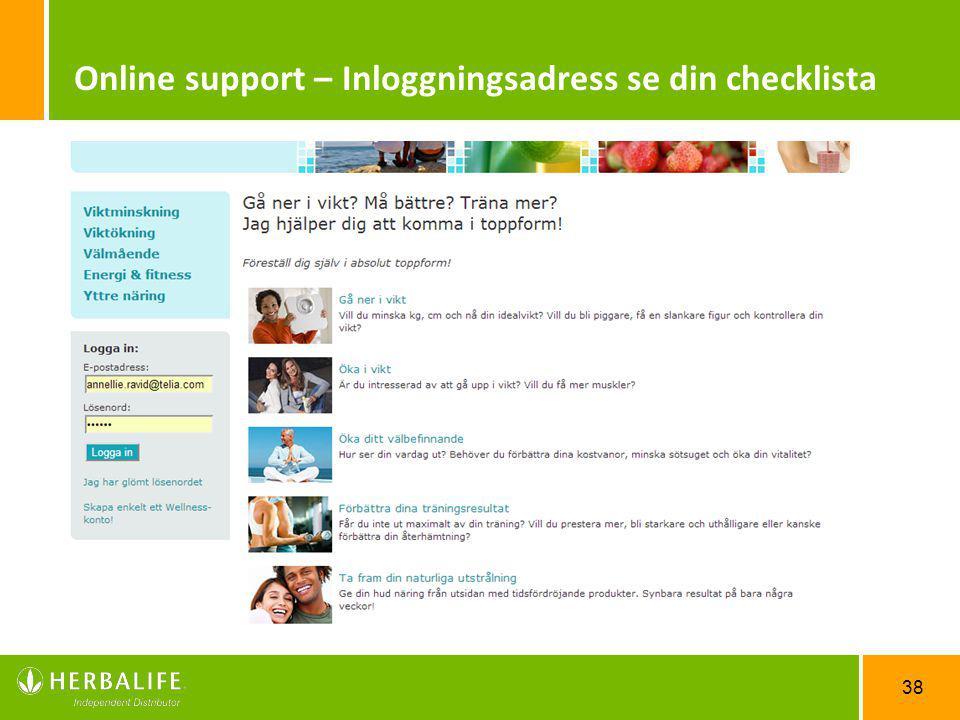38 Online support – Inloggningsadress se din checklista