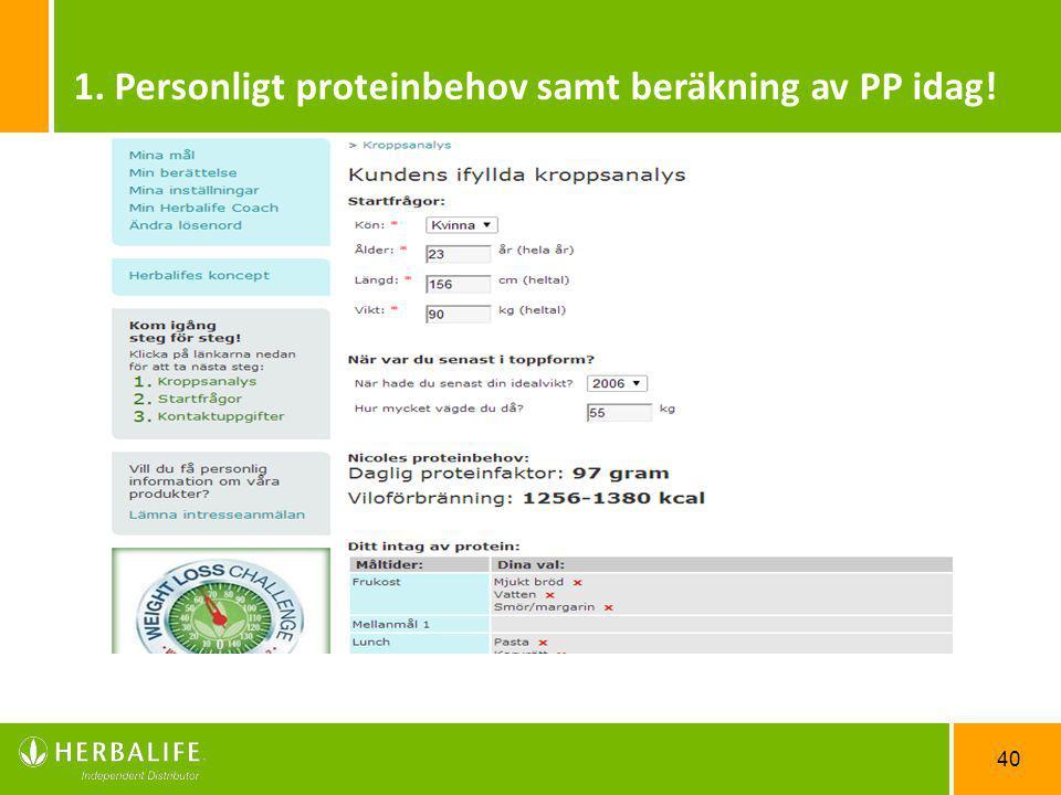 40 1. Personligt proteinbehov samt beräkning av PP idag!