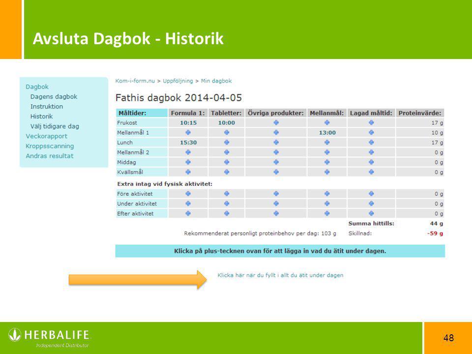 48 Avsluta Dagbok - Historik