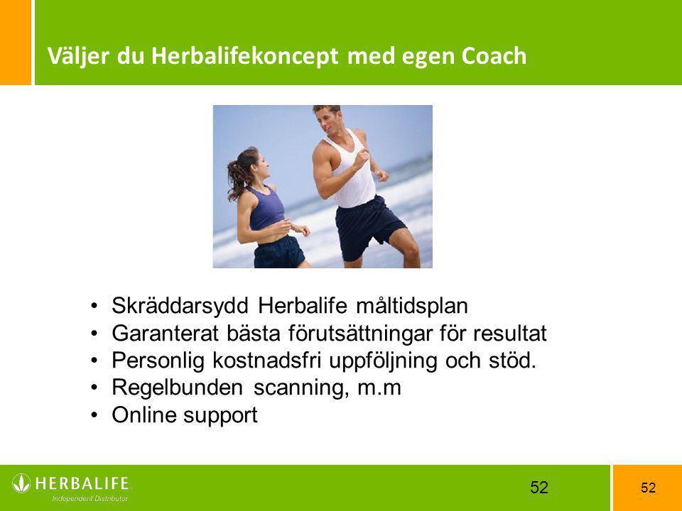 52 Väljer du Herbalifekoncept med egen Coach Skräddarsydd Herbalife måltidsplan Garanterat bästa förutsättningar för resultat Personlig kostnadsfri up