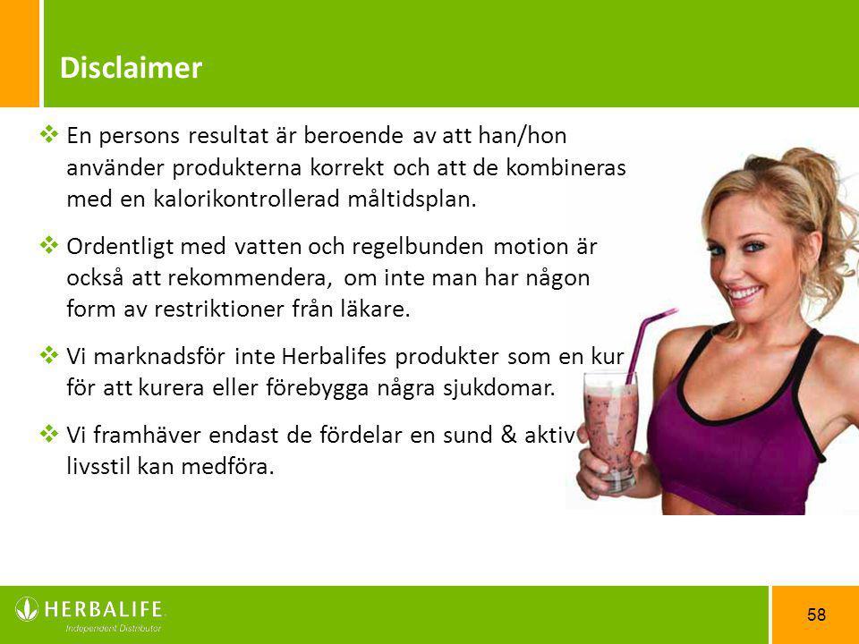 58  En persons resultat är beroende av att han/hon använder produkterna korrekt och att de kombineras med en kalorikontrollerad måltidsplan.  Ordent