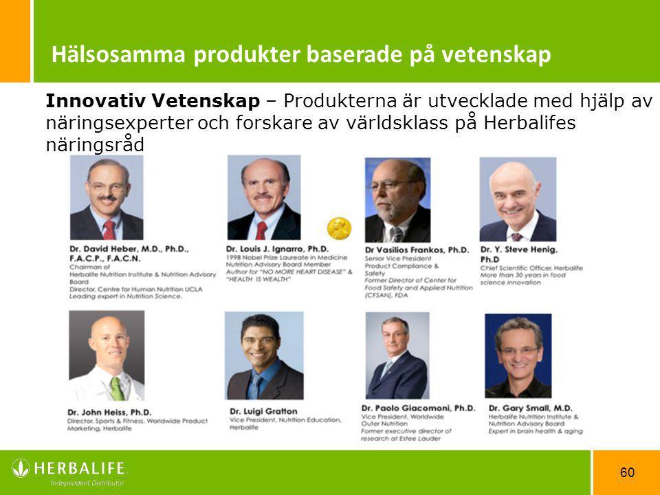 60 Hälsosamma produkter baserade på vetenskap Innovativ Vetenskap – Produkterna är utvecklade med hjälp av näringsexperter och forskare av världsklass