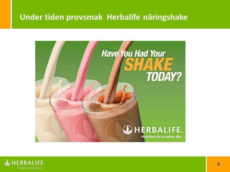 9 Under tiden provsmak Herbalife näringshake