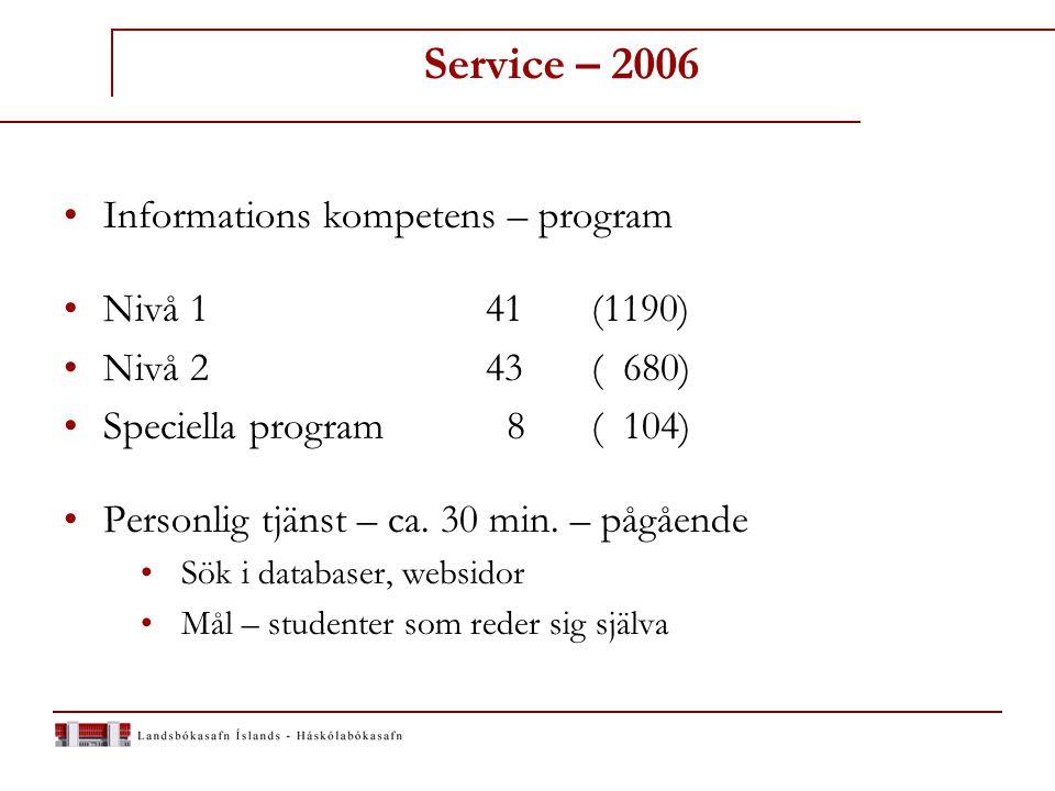 Service Informations kompetans - webben www.landsbokasafn.is  Almänn information  Adgang til kataloger och databaser Dit fag - enskilda fagområden  Sökning - i detaljer  Vägledning i bruk av databaser  Omkring 60 brochyrer – (papper – webben)  http://www.hvar.is/upload/2/ProQuestOnePageIcelandic.pdf http://www.hvar.is/upload/2/ProQuestOnePageIcelandic.pdf  http://www.fva.is/safn/heimleitir/eboldb.pdf http://www.fva.is/safn/heimleitir/eboldb.pdf