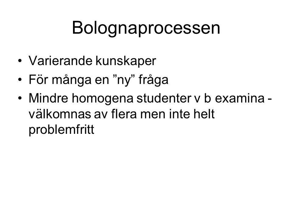 Bolognaprocessen Varierande kunskaper För många en ny fråga Mindre homogena studenter v b examina - välkomnas av flera men inte helt problemfritt