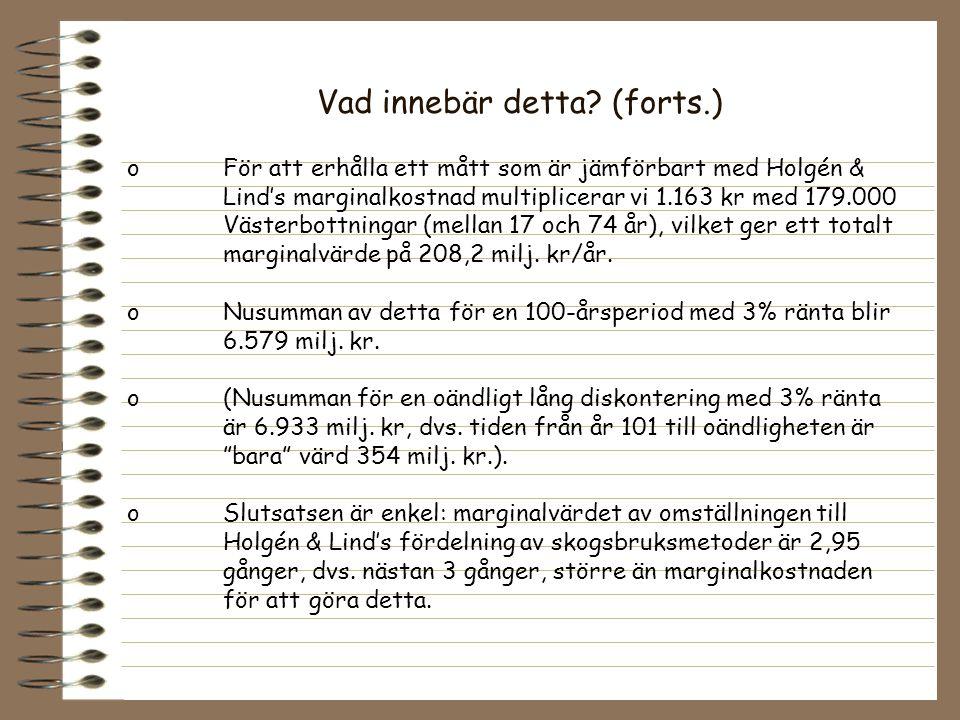 Vad innebär detta? (forts.) o För att erhålla ett mått som är jämförbart med Holgén & Lind's marginalkostnad multiplicerar vi 1.163 kr med 179.000 Väs