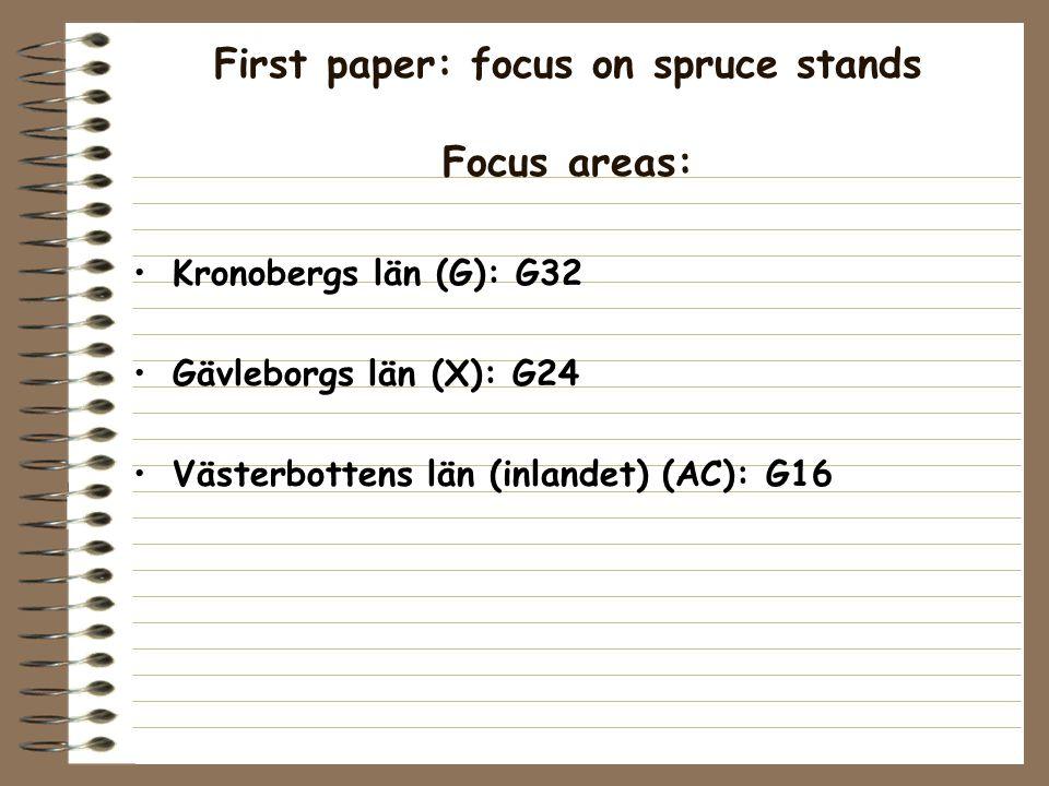 First paper: focus on spruce stands Focus areas: Kronobergs län (G): G32 Gävleborgs län (X): G24 Västerbottens län (inlandet) (AC): G16