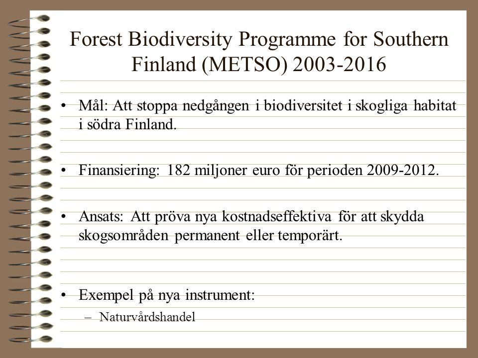 Forest Biodiversity Programme for Southern Finland (METSO) 2003-2016 Mål: Att stoppa nedgången i biodiversitet i skogliga habitat i södra Finland. Fin