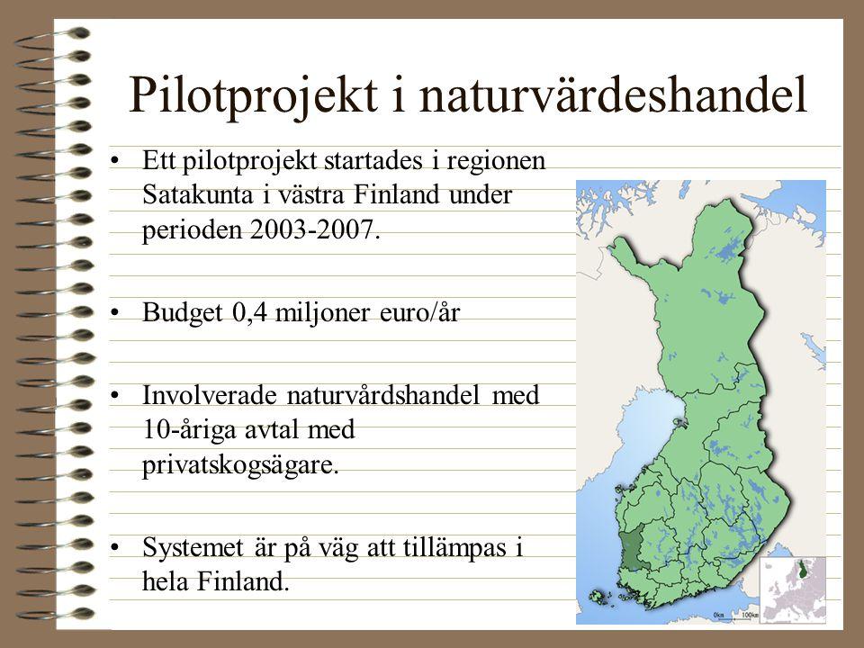 Pilotprojekt i naturvärdeshandel Ett pilotprojekt startades i regionen Satakunta i västra Finland under perioden 2003-2007. Budget 0,4 miljoner euro/å