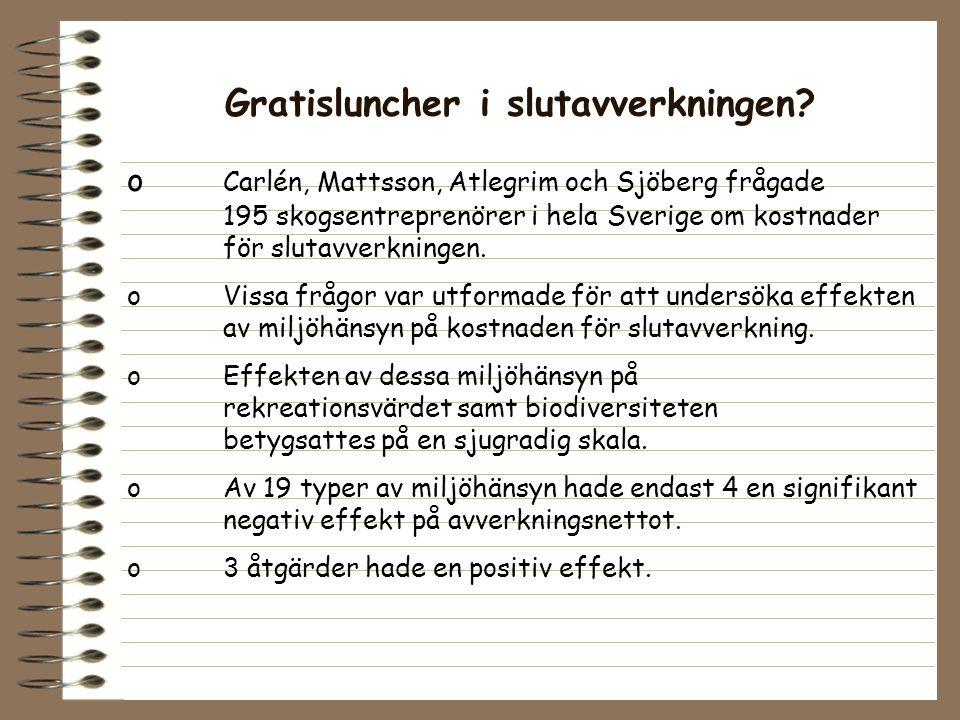 Gratisluncher i slutavverkningen? o Carlén, Mattsson, Atlegrim och Sjöberg frågade 195 skogsentreprenörer i hela Sverige om kostnader för slutavverkni