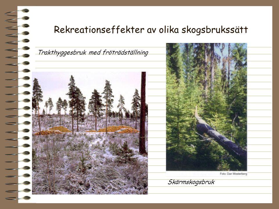 Rekreationseffekter av olika skogsbrukssätt Trakthyggesbruk med fröträdställning Skärmskogsbruk