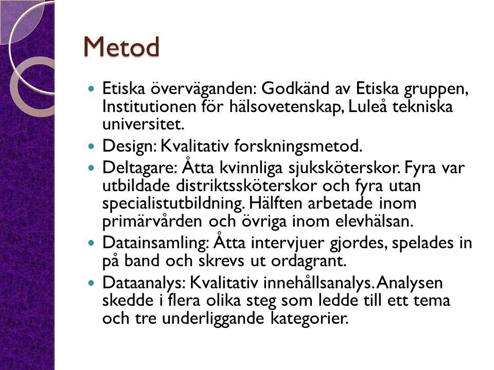 Metod Etiska överväganden: Godkänd av Etiska gruppen, Institutionen för hälsovetenskap, Luleå tekniska universitet. Design: Kvalitativ forskningsmetod