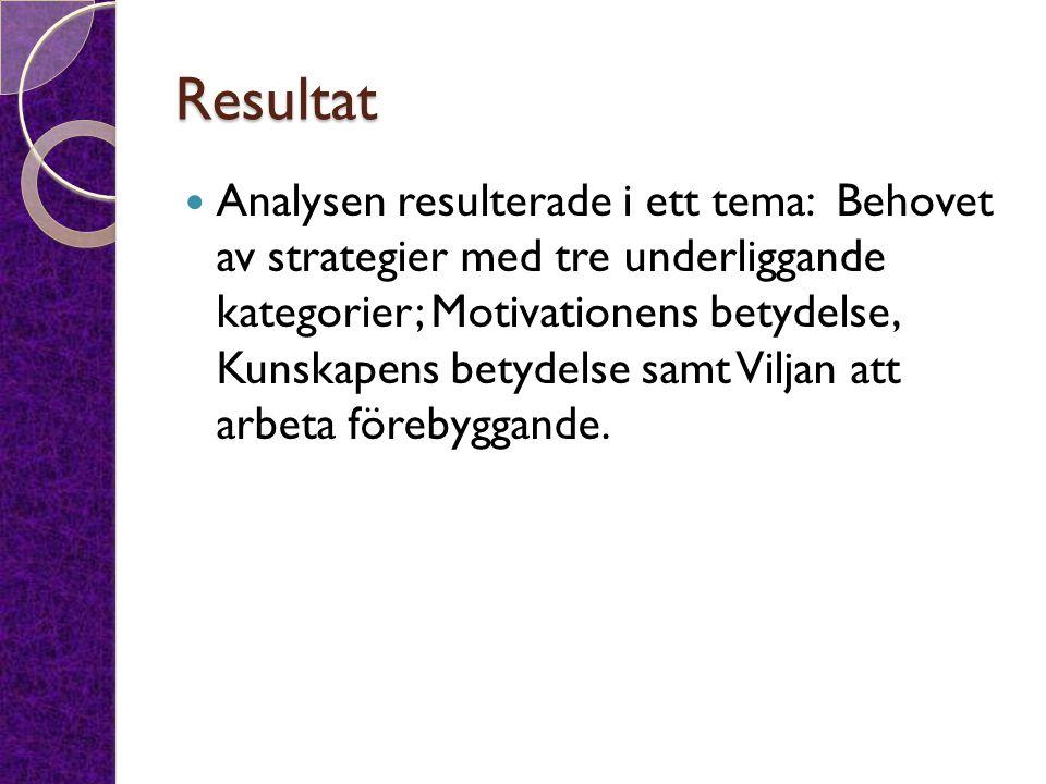 Resultat Analysen resulterade i ett tema: Behovet av strategier med tre underliggande kategorier; Motivationens betydelse, Kunskapens betydelse samt V