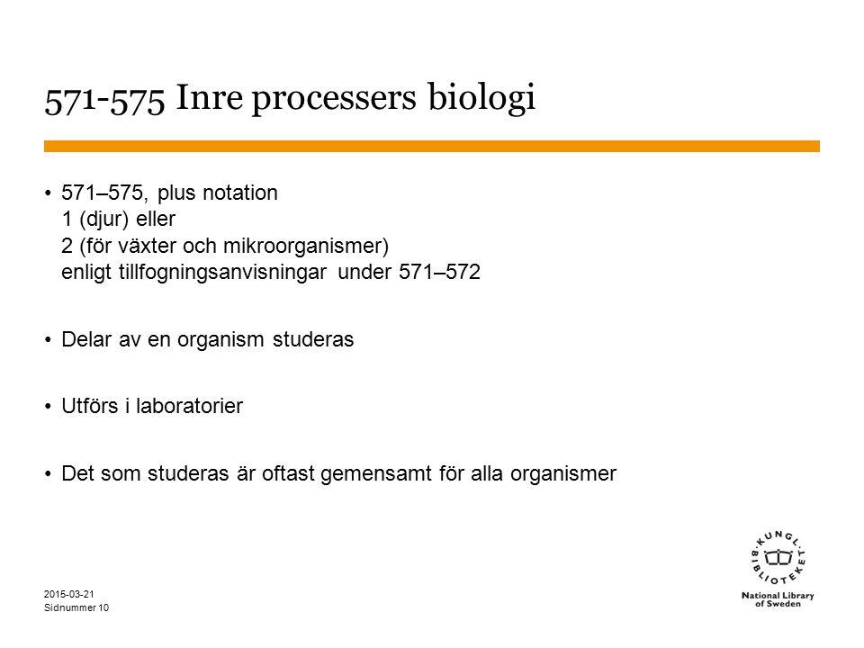 Sidnummer 2015-03-21 10 571-575 Inre processers biologi 571–575, plus notation 1 (djur) eller 2 (för växter och mikroorganismer) enligt tillfogningsanvisningar under 571–572 Delar av en organism studeras Utförs i laboratorier Det som studeras är oftast gemensamt för alla organismer