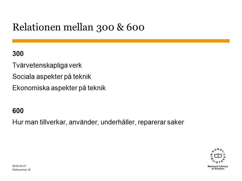 Sidnummer 2015-03-21 18 Relationen mellan 300 & 600 300 Tvärvetenskapliga verk Sociala aspekter på teknik Ekonomiska aspekter på teknik 600 Hur man tillverkar, använder, underhåller, reparerar saker