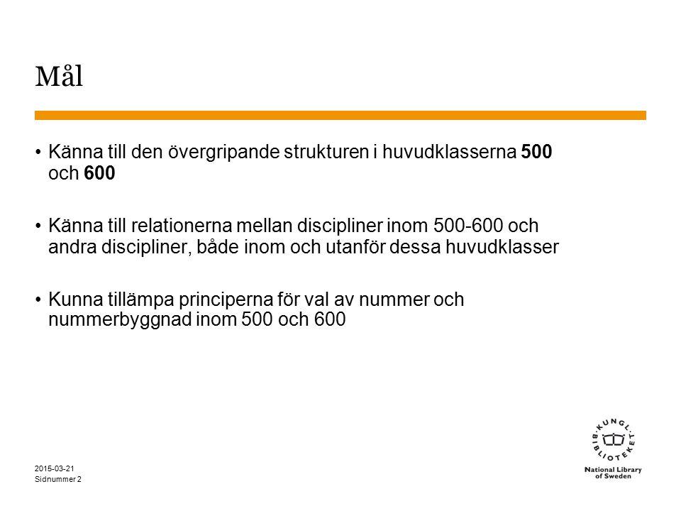 Sidnummer 2015-03-21 2 Mål Känna till den övergripande strukturen i huvudklasserna 500 och 600 Känna till relationerna mellan discipliner inom 500-600 och andra discipliner, både inom och utanför dessa huvudklasser Kunna tillämpa principerna för val av nummer och nummerbyggnad inom 500 och 600