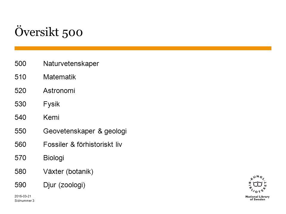 Sidnummer 2015-03-21 3 Översikt 500 500 Naturvetenskaper 510 Matematik 520 Astronomi 530 Fysik 540 Kemi 550 Geovetenskaper & geologi 560 Fossiler & förhistoriskt liv 570 Biologi 580 Växter (botanik) 590 Djur (zoologi)