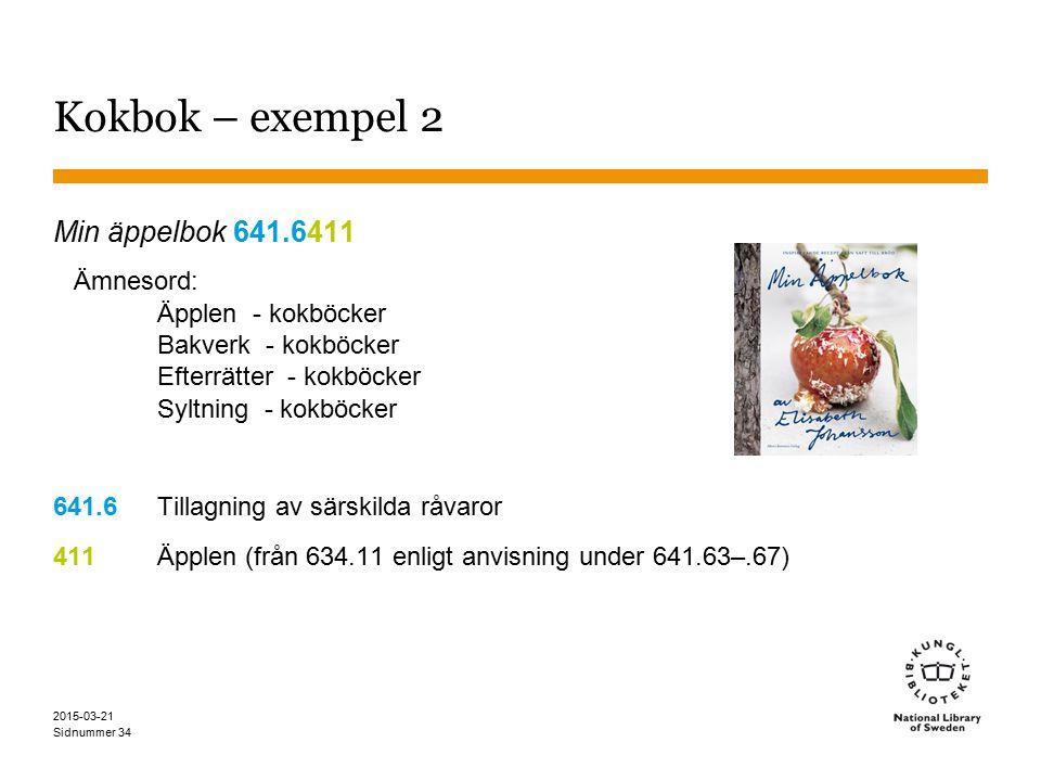Sidnummer 2015-03-21 34 Kokbok – exempel 2 Min äppelbok 641.6411 Ämnesord: Äpplen - kokböcker Bakverk - kokböcker Efterrätter - kokböcker Syltning - kokböcker 641.6Tillagning av särskilda råvaror 411Äpplen (från 634.11 enligt anvisning under 641.63–.67)