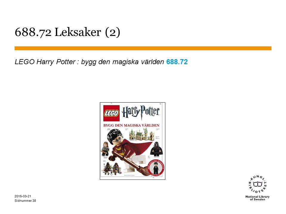 Sidnummer 2015-03-21 38 688.72 Leksaker (2) LEGO Harry Potter : bygg den magiska världen 688.72