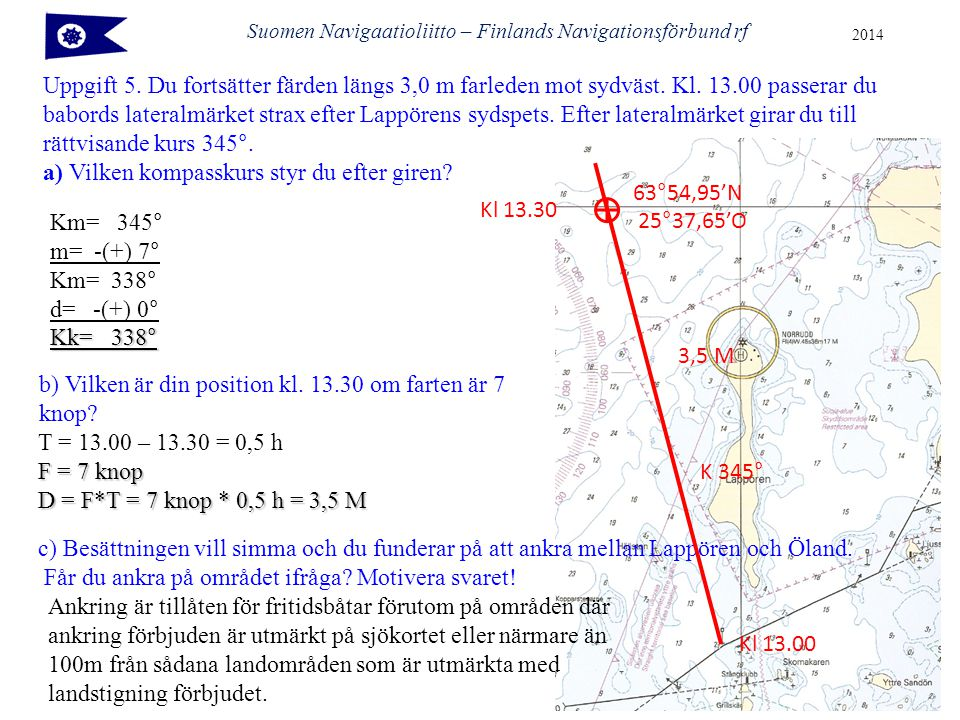 Suomen Navigaatioliitto – Finlands Navigationsförbund rf 2014 Uppgift 5.