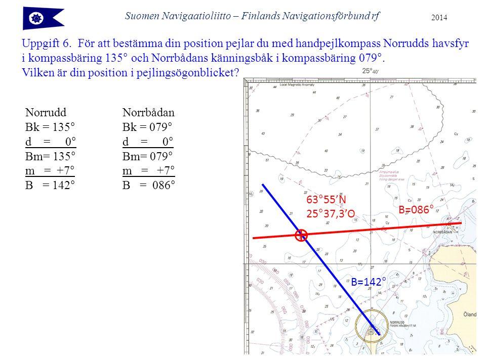 Suomen Navigaatioliitto – Finlands Navigationsförbund rf 2014 Uppgift 6.