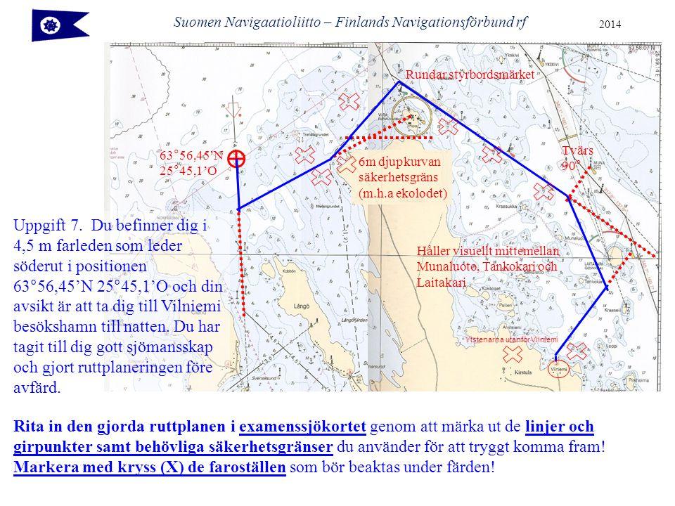 63°56,45'N 25°45,1'O Tvärs 90° Håller visuellt mittemellan Munaluoto, Tankokari och Laitakari 6m djupkurvan säkerhetsgräns (m.h.a ekolodet) Rundar styrbordsmärket Ytstenarna utanför Vilniemi Suomen Navigaatioliitto – Finlands Navigationsförbund rf 2014 Rita in den gjorda ruttplanen i examenssjökortet genom att märka ut de linjer och girpunkter samt behövliga säkerhetsgränser du använder för att tryggt komma fram.
