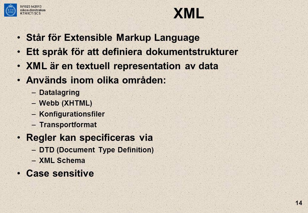 IV1023 ht2013 nikos dimitrakas KTH/ICT/SCS 14 XML Står för Extensible Markup Language Ett språk för att definiera dokumentstrukturer XML är en textuel
