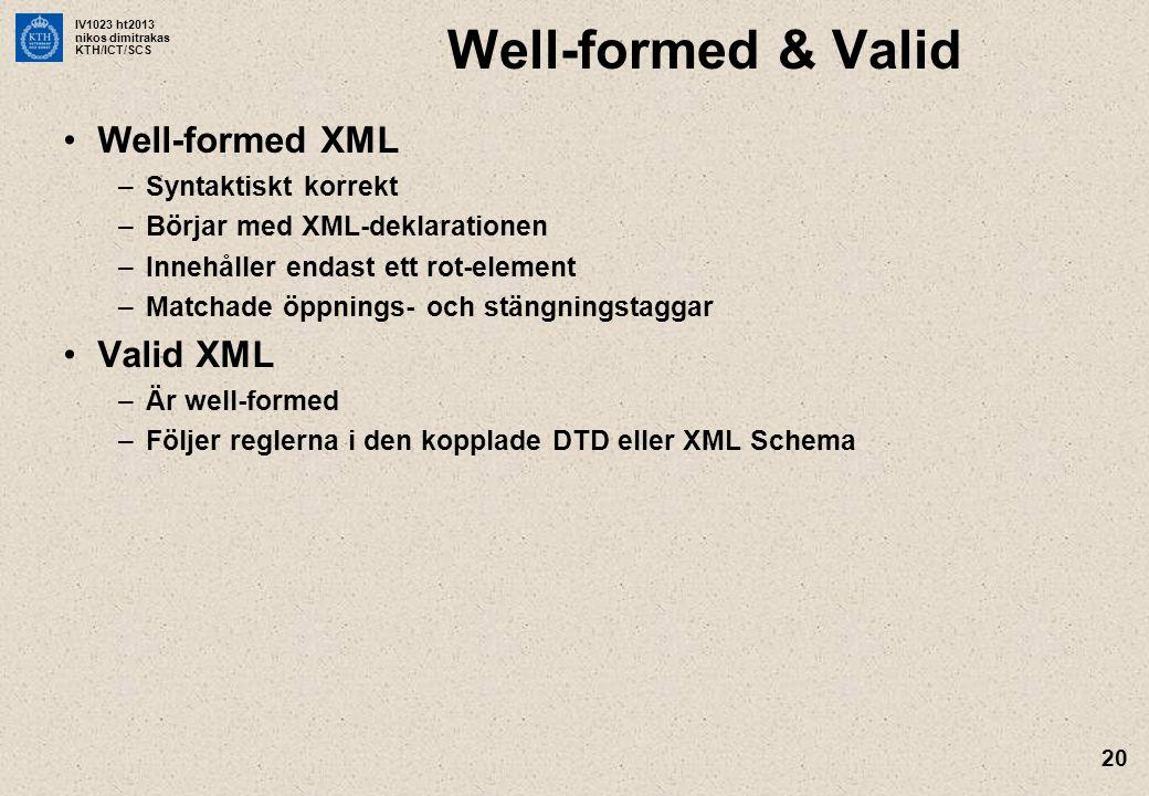 IV1023 ht2013 nikos dimitrakas KTH/ICT/SCS 20 Well-formed & Valid Well-formed XML –Syntaktiskt korrekt –Börjar med XML-deklarationen –Innehåller endas