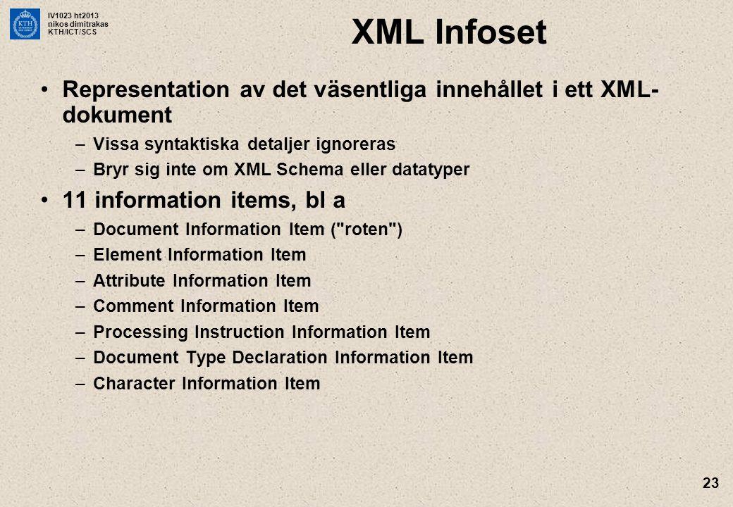 IV1023 ht2013 nikos dimitrakas KTH/ICT/SCS 23 XML Infoset Representation av det väsentliga innehållet i ett XML- dokument –Vissa syntaktiska detaljer