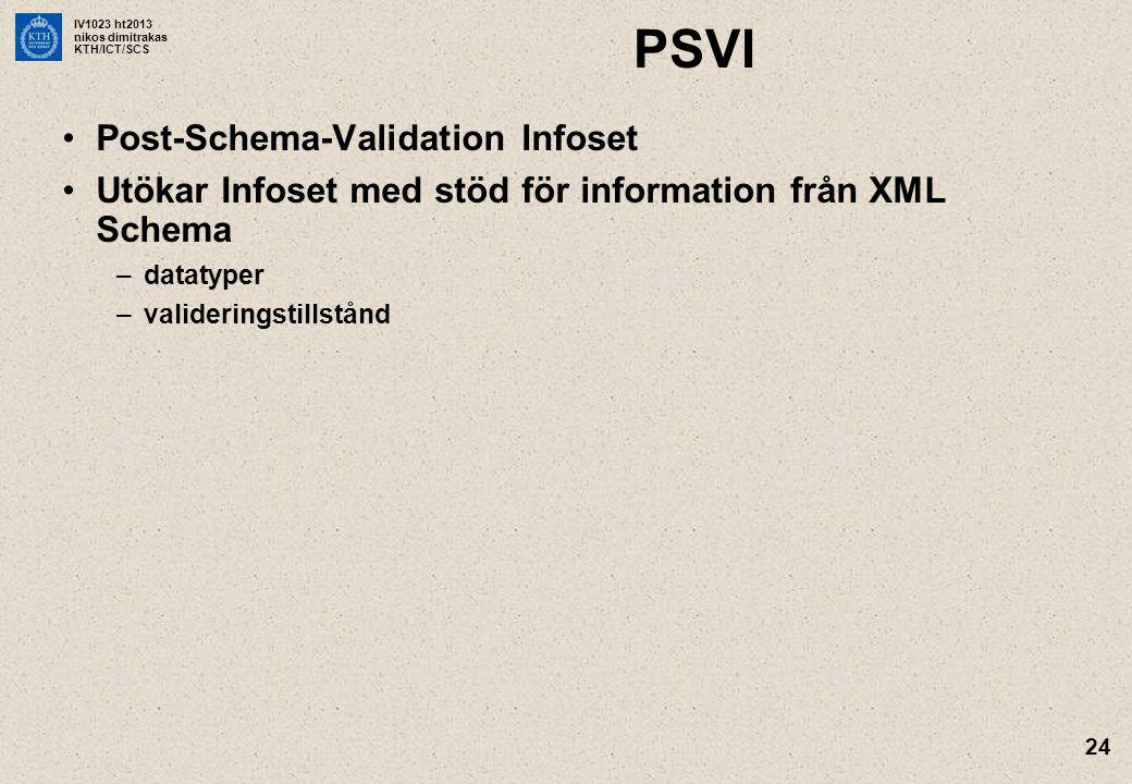 IV1023 ht2013 nikos dimitrakas KTH/ICT/SCS 24 PSVI Post-Schema-Validation Infoset Utökar Infoset med stöd för information från XML Schema –datatyper –