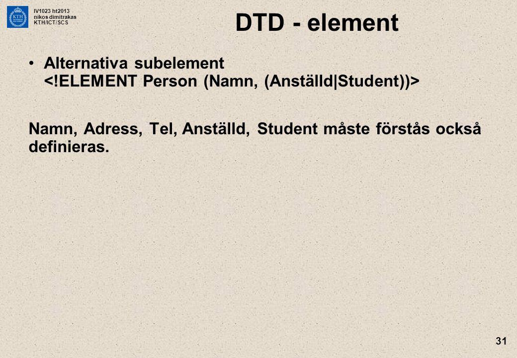 IV1023 ht2013 nikos dimitrakas KTH/ICT/SCS 31 DTD - element Alternativa subelement Namn, Adress, Tel, Anställd, Student måste förstås också definieras