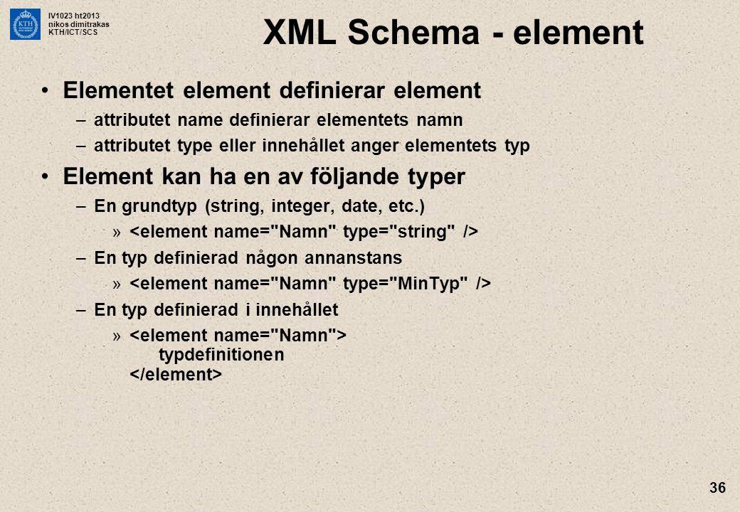 IV1023 ht2013 nikos dimitrakas KTH/ICT/SCS 36 XML Schema - element Elementet element definierar element –attributet name definierar elementets namn –a