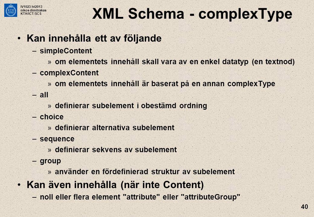 IV1023 ht2013 nikos dimitrakas KTH/ICT/SCS 40 XML Schema - complexType Kan innehålla ett av följande –simpleContent »om elementets innehåll skall vara