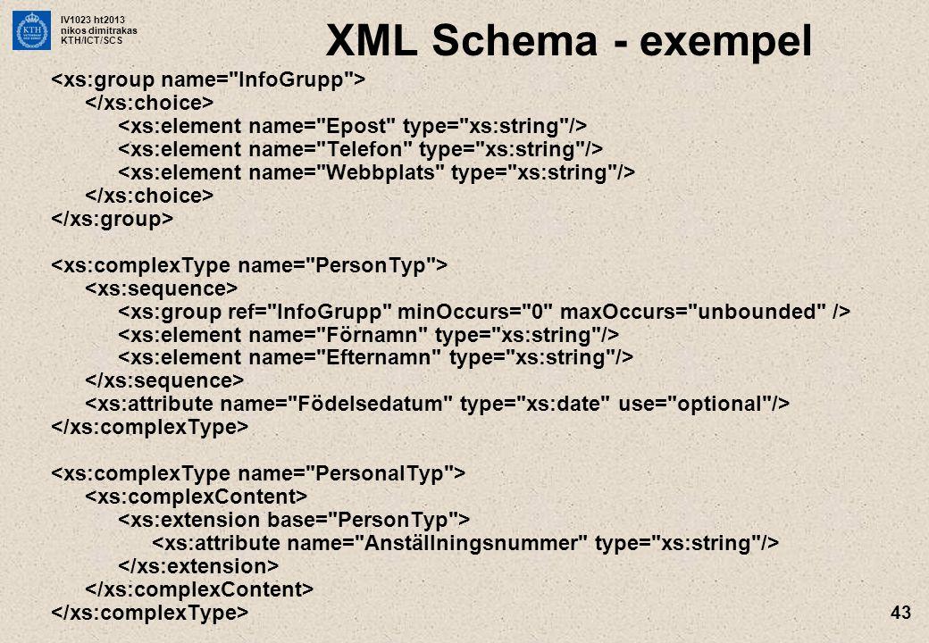 IV1023 ht2013 nikos dimitrakas KTH/ICT/SCS 43 XML Schema - exempel