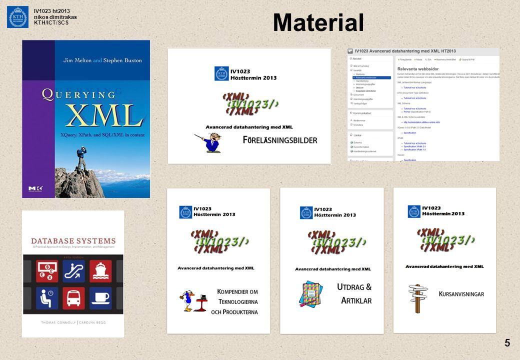 IV1023 ht2013 nikos dimitrakas KTH/ICT/SCS 5 Material